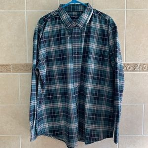 St. John's Bay Easy Care Button Down Teal plaid